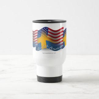 Bandera que agita Sueco-Americana Taza De Viaje