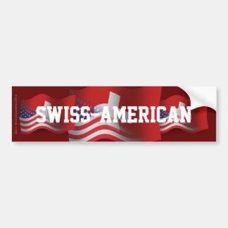Bandera que agita Suizo-Americana Etiqueta De Parachoque