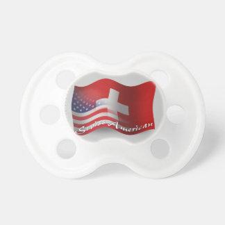 Bandera que agita Suizo-Americana Chupetes De Bebé