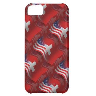 Bandera que agita Suizo-Americana Funda Para iPhone 5C