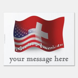 Bandera que agita Suizo-Americana Letrero