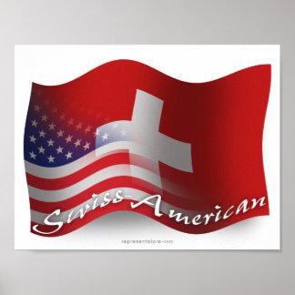 Bandera que agita Suizo-Americana Impresiones