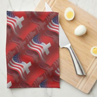 Bandera que agita Suizo-Americana Toalla De Mano