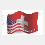 Bandera que agita Suizo-Americana Rectangular Pegatinas