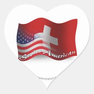 Bandera que agita Suizo-Americana Pegatina En Forma De Corazón