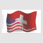 Bandera que agita Suizo-Americana Pegatina Rectangular