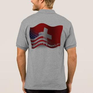 Bandera que agita Suizo-Americana Camiseta Polo