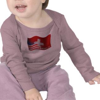 Bandera que agita Suizo-Americana Camiseta