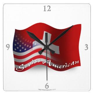 Bandera que agita Suizo-Americana Reloj Cuadrado