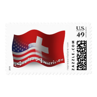 Bandera que agita Suizo-Americana Sello