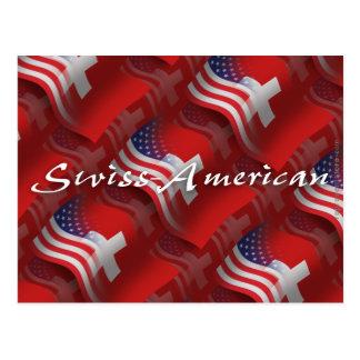 Bandera que agita Suizo-Americana Tarjetas Postales