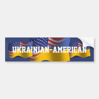 Bandera que agita Ucraniano-Americana Etiqueta De Parachoque