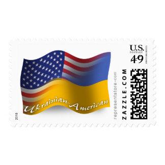 Bandera que agita Ucraniano-Americana Sellos Postales