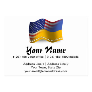 Bandera que agita Ucraniano-Americana Tarjetas De Visita Grandes