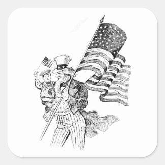 Bandera que lleva del tío Sam y niño patriótico Pegatina Cuadrada