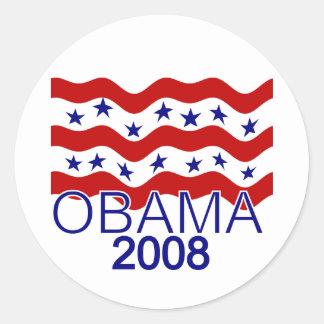 Bandera que vuela al pegatina 2008 de Obama