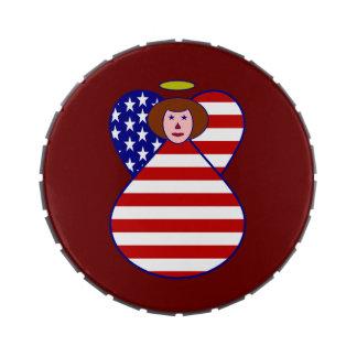 Bandera Rad-Haired del ángel de los E.E.U.U. Latas De Dulces