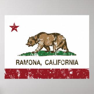 Bandera Ramona del estado de California Poster