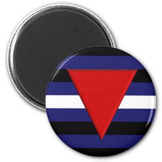 Bandera rara de cuero del orgullo imán redondo 5 cm
