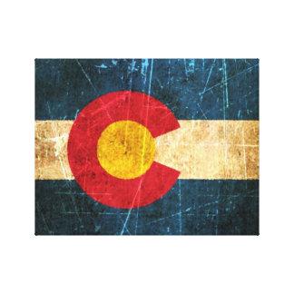 Bandera rascada y llevada de Colorado Impresión En Lienzo