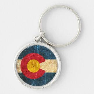 Bandera rascada y llevada de Colorado Llavero Redondo Plateado