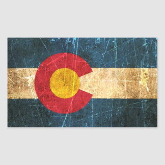 Bandera rascada y llevada de Colorado Rectangular Pegatinas