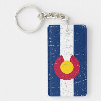 Bandera rascada y rasguñada de Colorado Llavero Rectangular Acrílico A Doble Cara