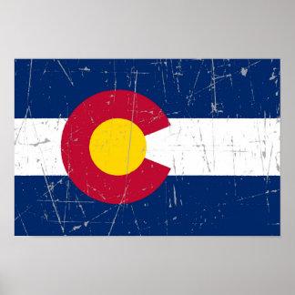 Bandera rascada y rasguñada de Colorado Póster