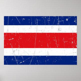 Bandera rascada y rasguñada de Costa Rica Poster