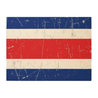 Bandera rascada y rasguñada de Costa Rica Impresión En Madera
