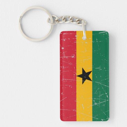 Bandera rascada y rasguñada de Ghana Llavero