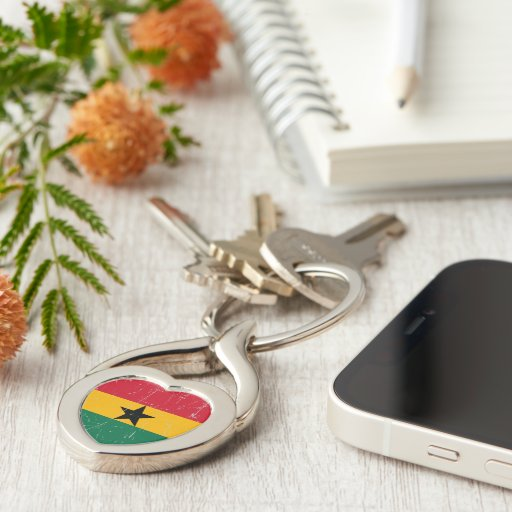 Bandera rascada y rasguñada de Ghana Llaveros