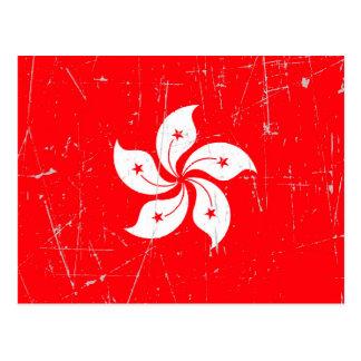Bandera rascada y rasguñada de Hong Kong Tarjetas Postales