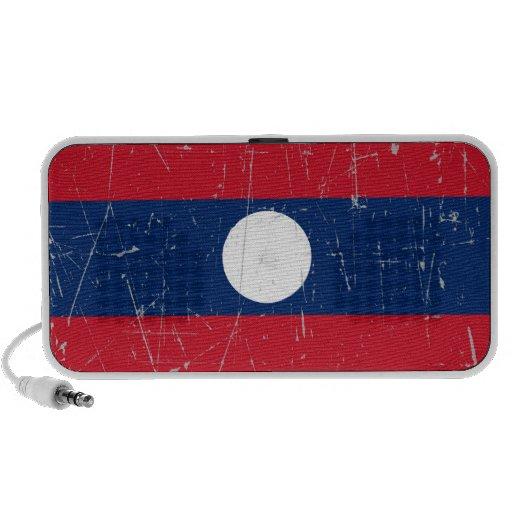 Bandera rascada y rasguñada de Laos Altavoz