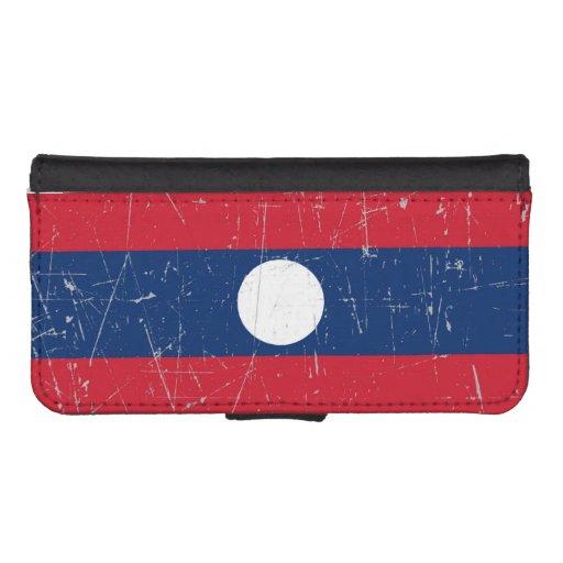 Bandera rascada y rasguñada de Laos Fundas Tipo Cartera Para iPhone 5