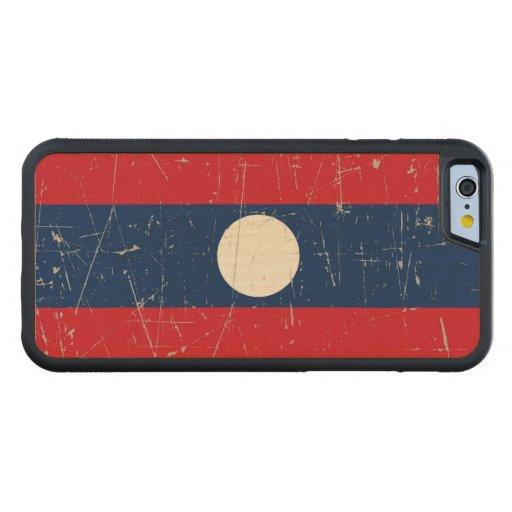 Bandera rascada y rasguñada de Laos Funda De iPhone 6 Bumper Arce