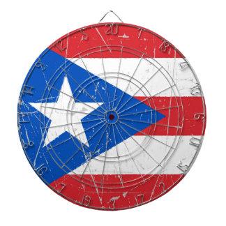 Bandera rascada y rasguñada de Puerto Rico Tablero Dardos