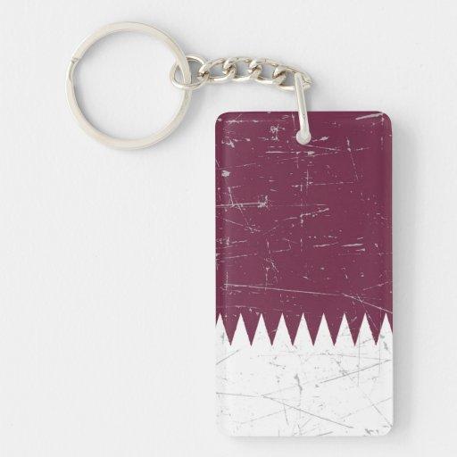 Bandera rascada y rasguñada de Qatari Llaveros