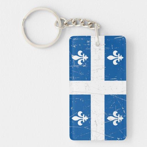 Bandera rascada y rasguñada de Quebec Llavero