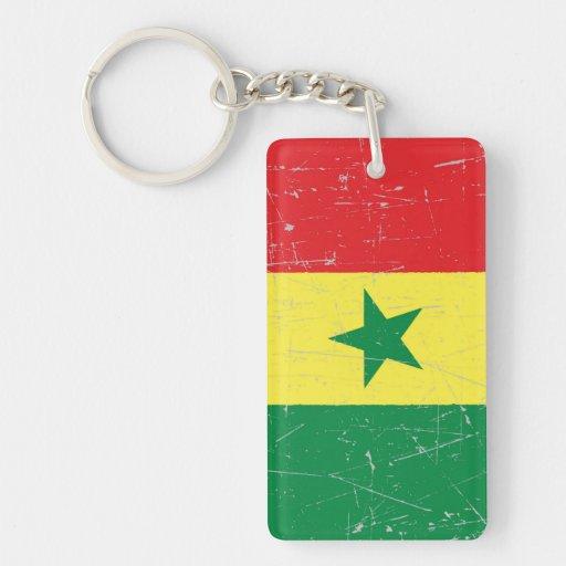 Bandera rascada y rasguñada de Senegal Llaveros