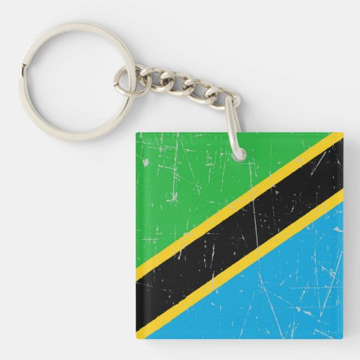 Bandera rascada y rasguñada de Tanzania Llavero