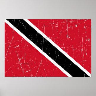 Bandera rascada y rasguñada de Trinidad and Tobago Impresiones