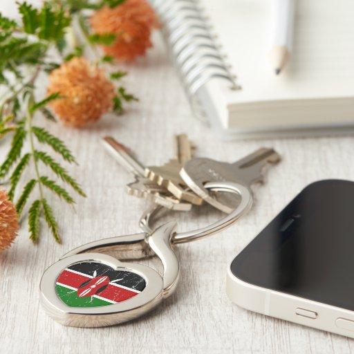 Bandera rascada y rasguñada del Kenyan Llaveros