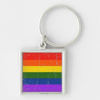 Bandera rascada y rasguñada del orgullo gay llaveros personalizados