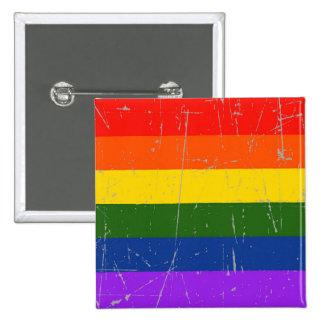 Bandera rascada y rasguñada del orgullo gay pin