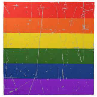 Bandera rascada y rasguñada del orgullo gay servilleta de papel