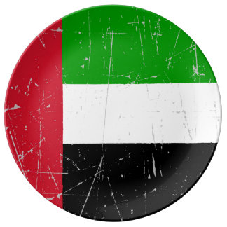 Bandera rasguñada rascada de United Arab Emirates Platos De Cerámica