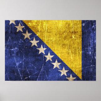 Bandera rasguñada vintage de Bosnia y Hercegovina Póster