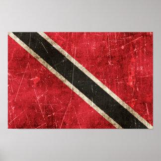 Bandera rasguñada vintage de Trinidad and Tobago Impresiones