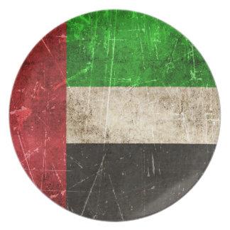 Bandera rasguñada vintage de United Arab Emirates Plato Para Fiesta